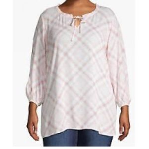 Lane Bryant tie-neck pink plaid peasant blouse!